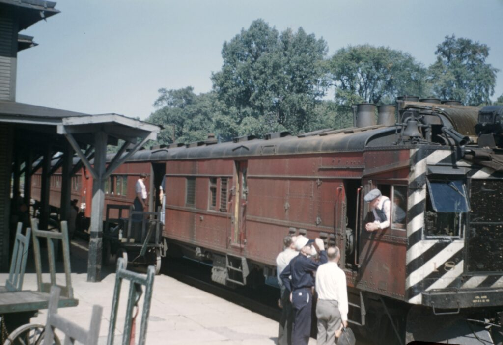 Lehigh Valley gas-electric at Rochester Jct. station, 9/3/1947. Collection of Charles Woolever.