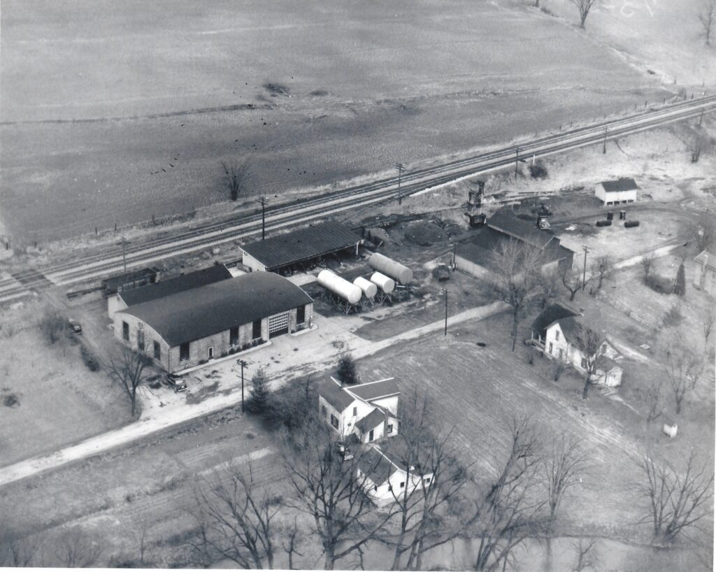 Dunn Oil Co. at the end of Mill Road, Mendon, February 5, 1952. Henry DeWolf photo. Honeoye Falls - Town of Mendon Historical Society Collection.