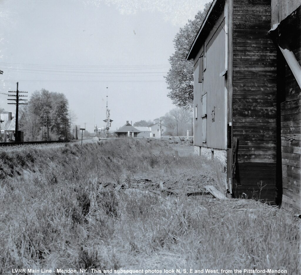 LVRR main line in Mendon looking west. James DeNardo photo. Honeoye Falls - Town of Mendon Historical Society Collection.