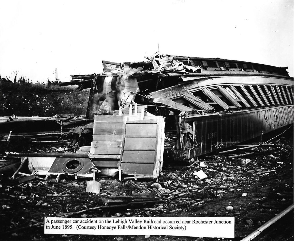 LVRR wreck near Rochester Junction, June 1895. Honeoye Falls - Town of Mendon Historical Society Collection.