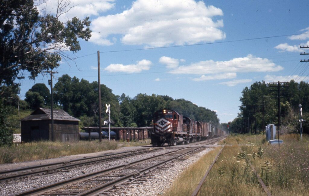 Westbound Lehigh Valley freight crossing Plains Road at Rochester Junction, early 1970s. Ron Amberger Photo.