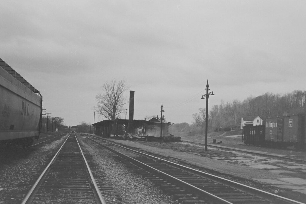 Remains of the Lehigh Valley Railroad Rochester Jct. station after the fire on Easter Sunday (4-22-1973). Smoke still rising from what was left on April 24, 1973. Paul J. Templeton photo.