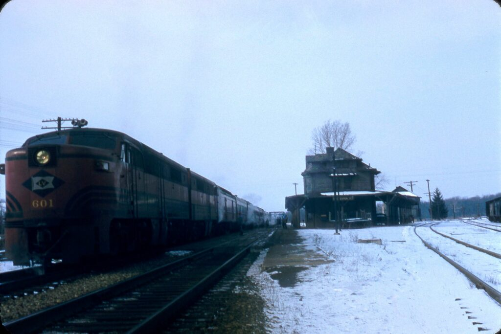 Black Diamond at Lehigh Valley Rochester Junction, Honeoye Falls NY. 1950s. Train is Eastbound. Douglas Morgan Collection.