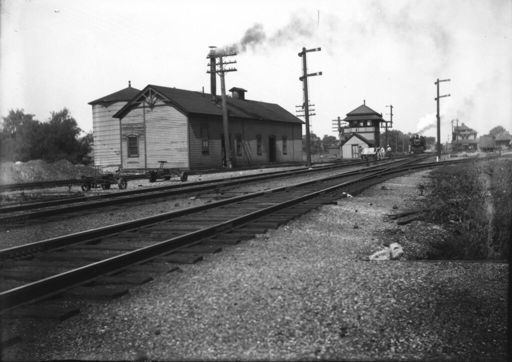 Rochester Junction, 1920s, looking west. Pump house and tower can be seen in this photo. Douglas Morgan Collection.