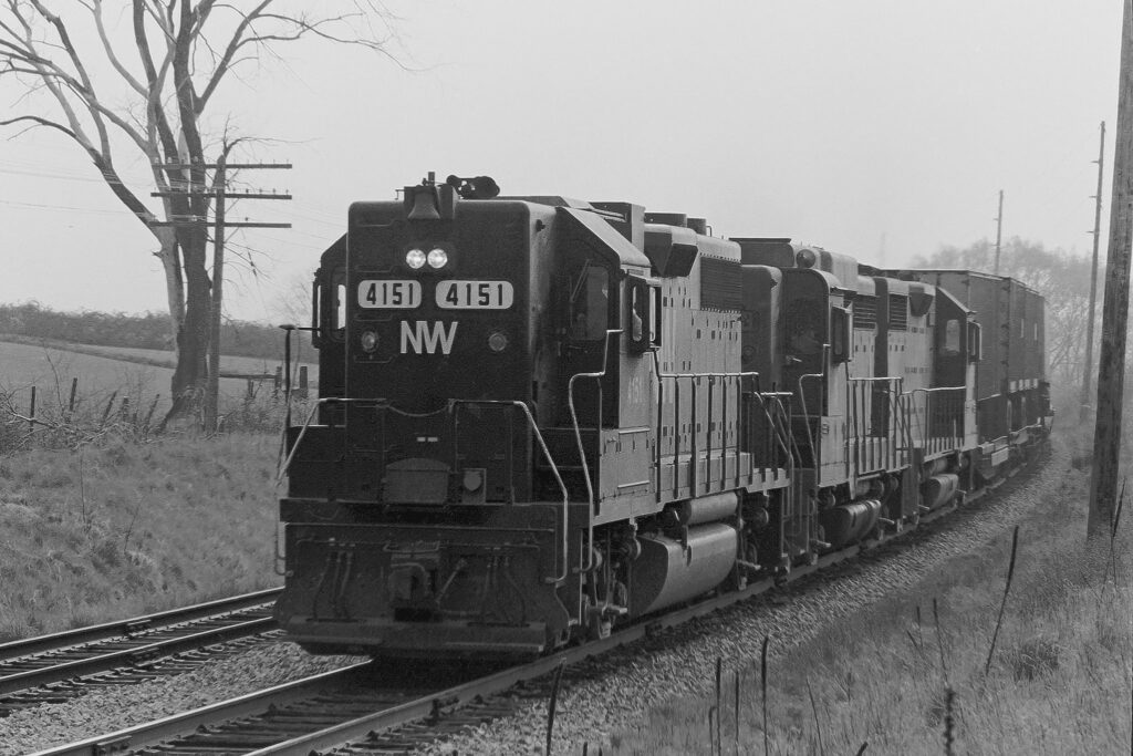 Lehigh Valley Railroad AP-2 with N&W pool power, Old Dutch Road, Mendon, NY, May 17, 1972. Paul J. Templeton photo.
