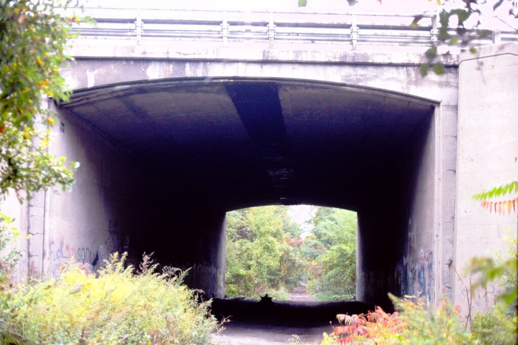 Ex Lehigh Valley tunnel under the NYS Thruway on October 9, 1999. This is now the end of the Lehigh Valley Trail on the Rochester branch in Henrietta. Paul J. Templeton photo.