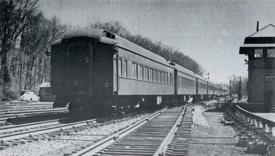 Eastbound Black Diamond Passing the Lehigh Valley Tower at Rochester Junction, Spring 1950. Photographer unknown.