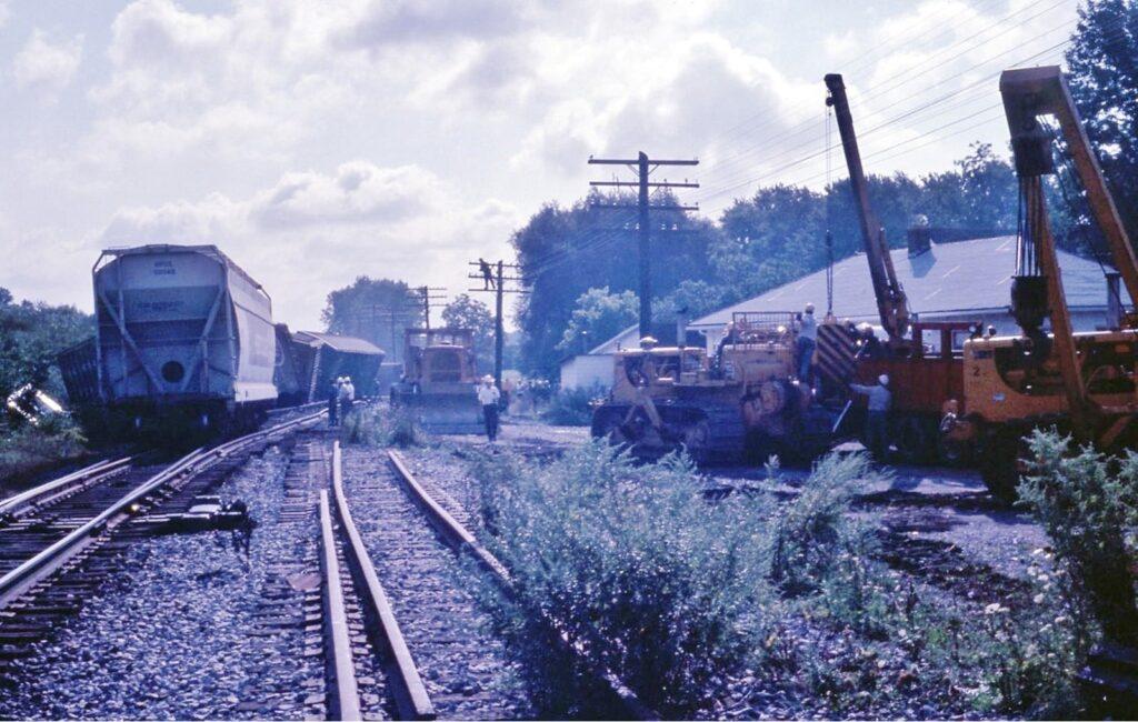 Lehigh Valley wreck in Rush, 1974. Photo by Bill Darron.