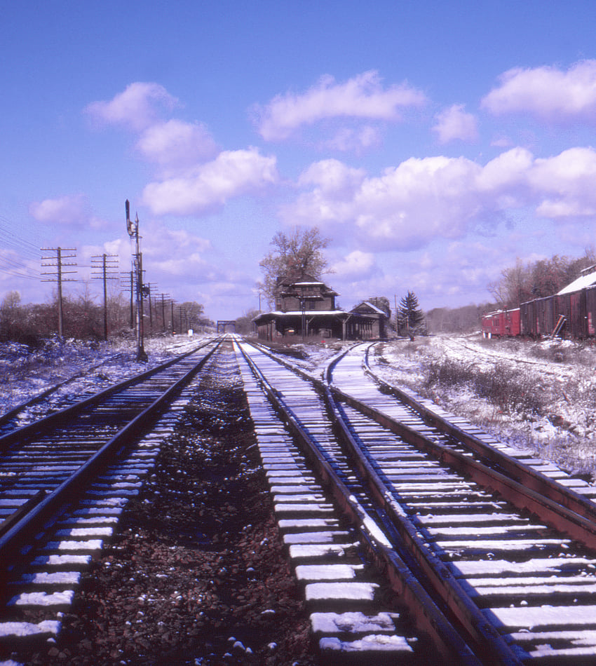 Lehigh Valley Railroad at Rochester Junction, NY 11/7/1971. Lamont Downs photograph.