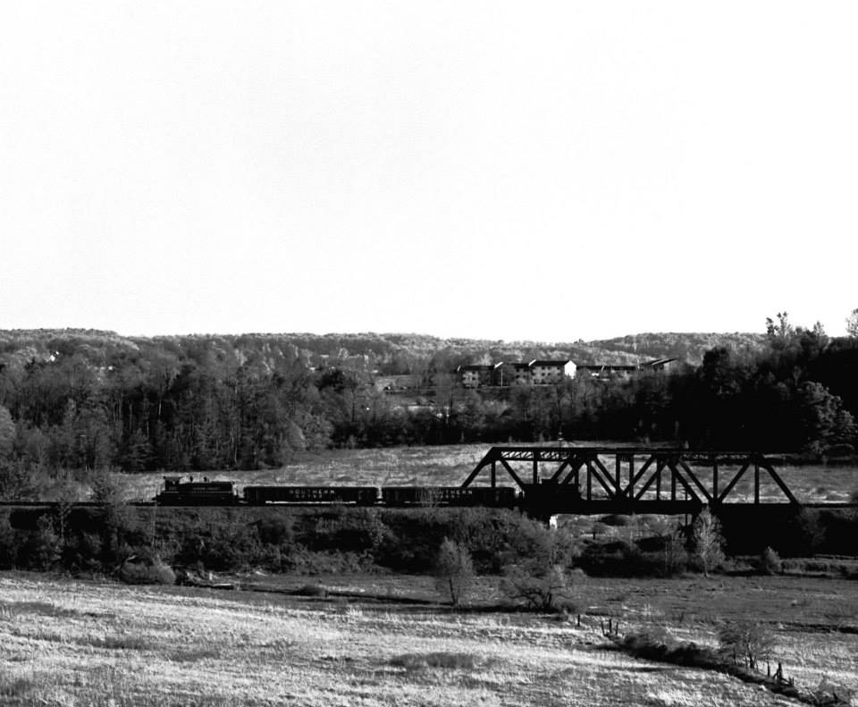 LVRR RM-2 crossing over the former NYC Auburn branch, 21 May 1974. The Valley was running shorter trains at this point. Train was headed back to Manchester from Rochester Junction. Paul J. Templeton photo.