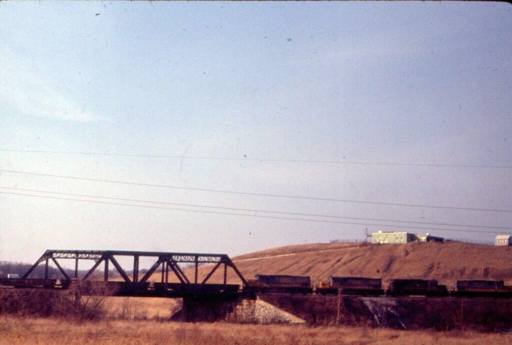 Lehigh Valley C420s & RS11 Eastbound to Victor, crossing over the old abandoned Auburn line, 3/31/1972. Photographer unknown.