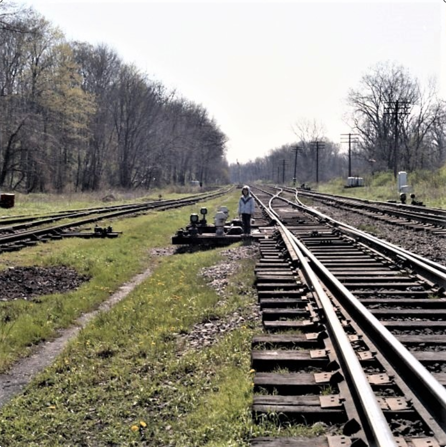 Don Marshall standing at the crossover at Rochester Junction, 1967. John Marshall photo.